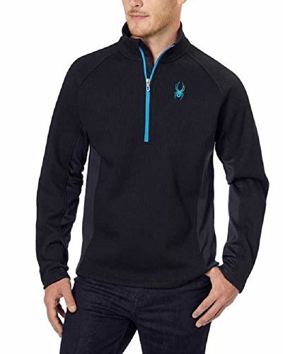 (Spyder Outbound 1/2 Zip Midweight Core XXL Men's Sweater Jacket Blk/Blk Blue Trim)