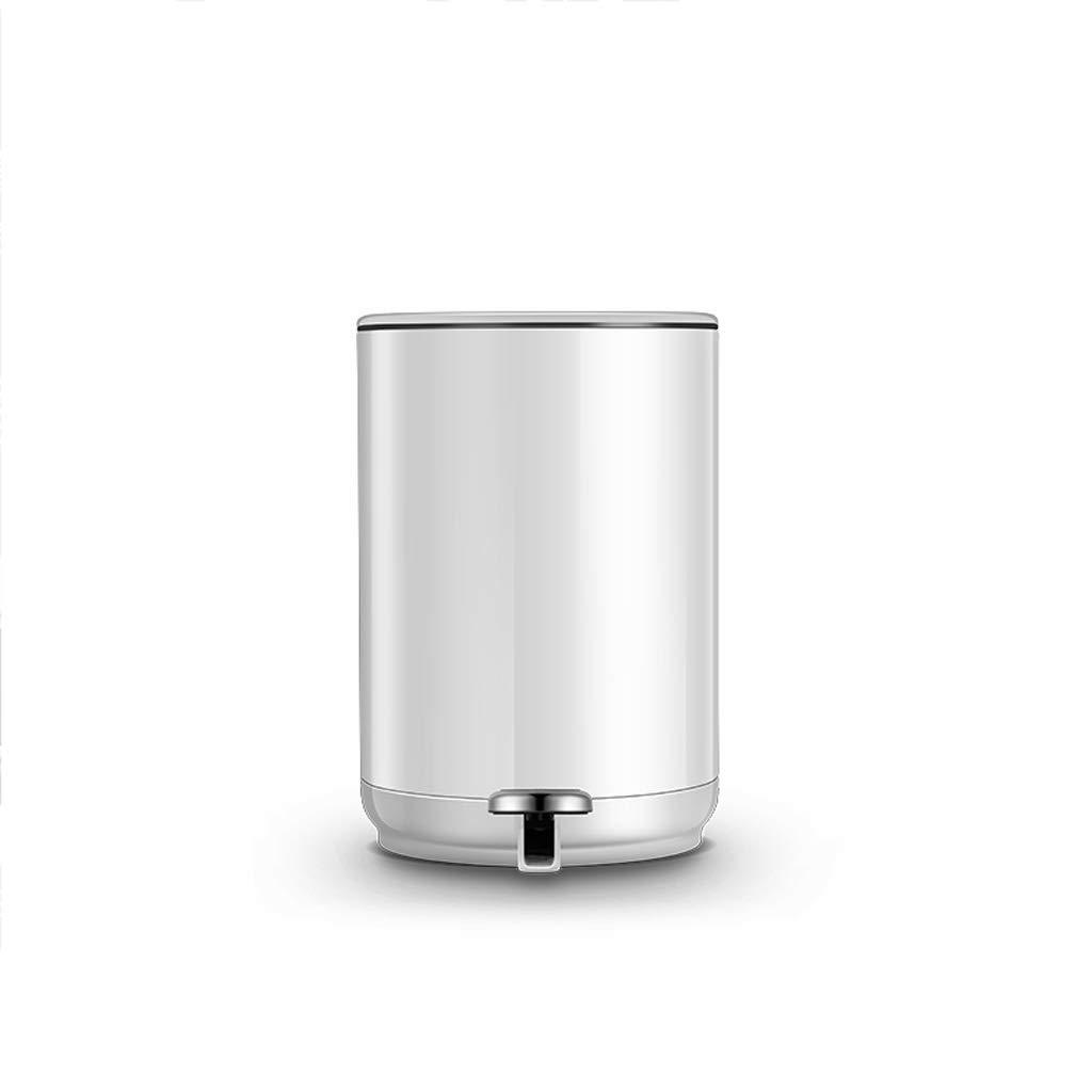 Mülleimer Pedal-weißes einfaches Hauptwohnzimmer-Schlafzimmer-Badezimmer mit Abdeckung stumm Speicher-Eimer 20 * 29.5cm FANJIANI