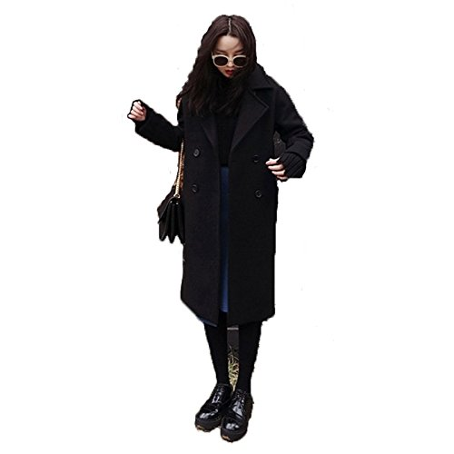 noir grand Xuanku Longues Robes en Noir Manteau en Laine Manteau en Laine Girl