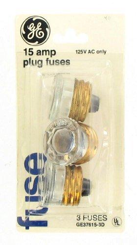 GE 15 Amp Plug Fuses 3 Pack 125V AC Only #GE37615-3D