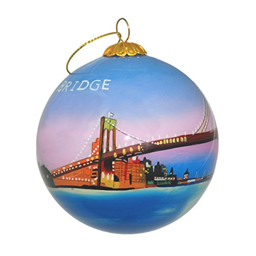 (Hand Painted Glass Christmas Ornament - Brooklyn Bridge & NYC skyline)