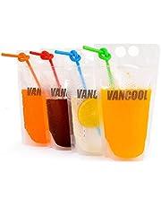 70 STKS Clear Drink Zakjes Tassen Sap Verzegelde Zak Heavy Duty Hand-held Doorschijnbare Rits Plastic Zakken Drinkzakken met 70 STKS Kleurrijke Rieten