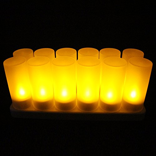 EuroFone LED Rechargeable Candle Flameless Tealight with Remote Control 12pcs/set (Yellow)