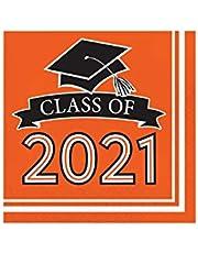 "Creative Converting Orange 2021 Grad Napkins, 6.5"""