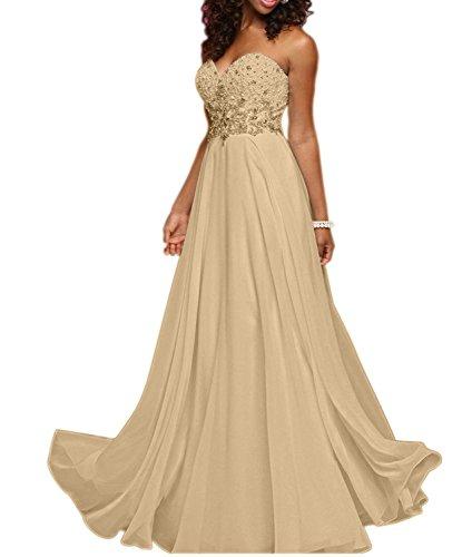 A Elegant Traegerlos Ballkleider Brautmutterkleider La Herzausschnitt Linie mia Lang Abendkleider Champagner Braut Partykleider 4v4tUx