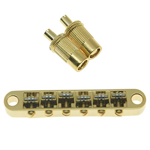 KAISH Gold Guitar Roller Saddle Bridge Tune-O-Matic Bridge For Epiphone Les Paul,SG,Dot,Bigsby Guitar with M8 Threaded Posts