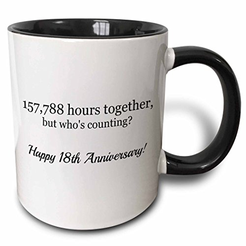 3dRose mug_224663_4 Happy 18th Anniversary 157788 hours together Two Tone Black Mug, 11 oz, Black/White (18th Tee)