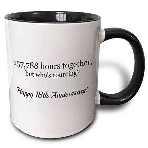18th Tee (3dRose mug_224663_4 Happy 18th Anniversary 157788 hours together Two Tone Black Mug, 11 oz, Black/White)