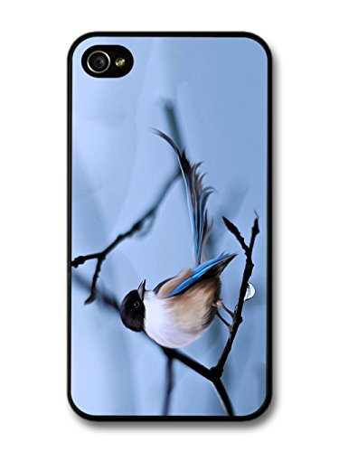 Blue Bird on Branch Digital Painting Nature Wild Animal case for iPhone 4 4S