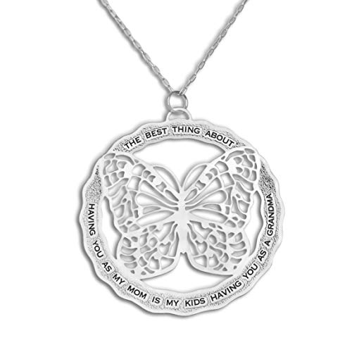 Caryn Rachel Designs Butterfly Necklace for Mom and Grandma Mothers Day Necklace | Unusual Butterfly Gifts for Women | Mother Daughter Necklace Gift Engraved Necklace