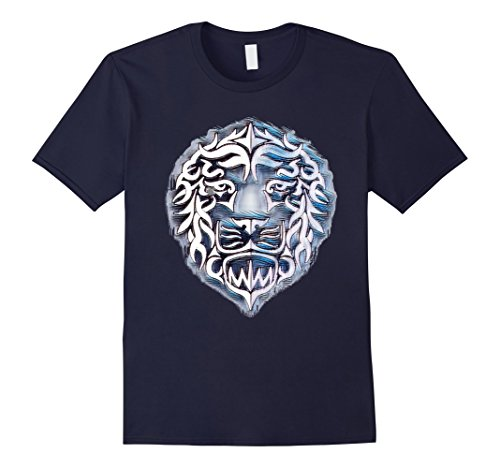 Mens Lion Head Shirt In Blue and White Large (Blue Lion Head)
