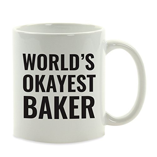 Andaz Press 11oz. Coffee Mug Gag Gift, World's Okayest Baker, 1-Pack, Funny Witty Coffee Cup Birthday Christmas Present Ideas (Bakers For Gift Christmas Ideas)