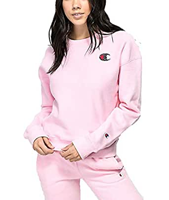 Champion Life Women's Reverse Weave Sublimated Big C Logo Pullover Crewneck - Pink - Small