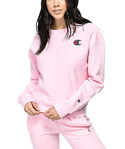 Champion Life Women's Reverse Weave Sublimated Big C Logo Pullover Crewneck (Pink Candy, Small) (Champion Classic Reverse Weave Crewneck Sweatshirt Pink)