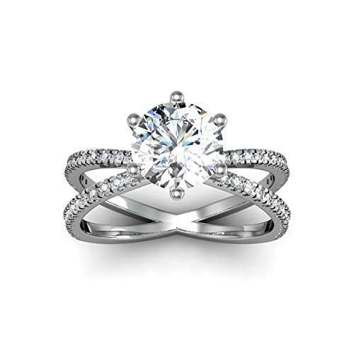 AGS Certified 1 1/4 Carat Total Weight Split Diamond Engagement Ring With 1ct Center In 14 Karat White Gold