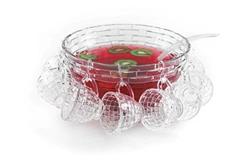 Punch Bowl And Ladle - Brilliant - Punch Bowl Set with a Large Bowl, Ladle and Hanging Cups