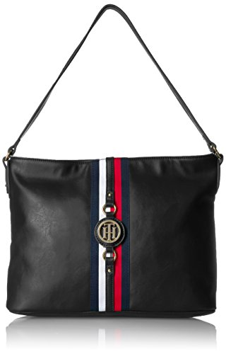 (Tommy Hilfiger Purse for Women Jaden Hobo, Black Polyvinyl Chloride)