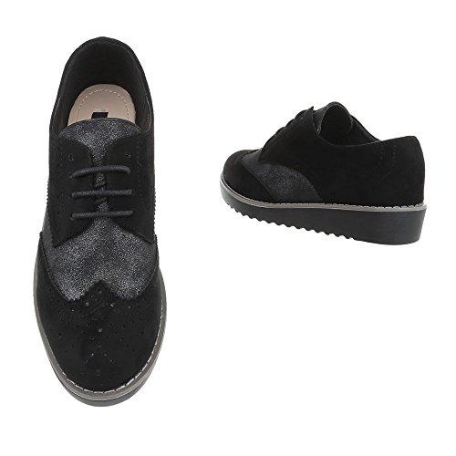 Ital-Design - Zapatos Planos con Cordones Mujer Schwarz 68-37