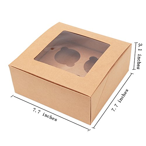 ezek Kraft Paper , Professional Bakery Boxes, Cookies, Cupcake, Muffin Containers Carriers with Display Windows and Insert.4 Holders,Quick Assembly Without Glue. Sets of 4.