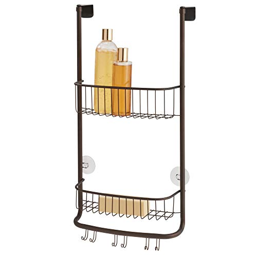 Shower Ginger Rod (InterDesign Forma Metal Over the Shower Door Caddy for Shampoo, Conditioner, Body Wash, Soap, Razors, Loofahs, Sponges, 12