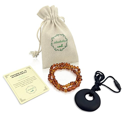 ALVABABY Amber Teething Necklace for Babies (Unisex) - Anti Flammatory Drooling & Fussiness Reduce Amber Teething Necklace + One Silicon Teething Necklace AN03