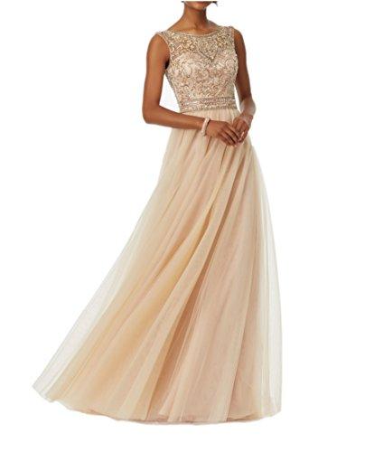 Promworld Damen Strass T¨¹ll Prom Kleider Ballkleider lang Abendkleider  Champagne US12 wiU28vk adac3ddc98