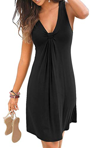 Happy Sailed Women Casual Summer Knot Front Sleeveless Plain Pleated Tank Vest Shift Dresses M Black
