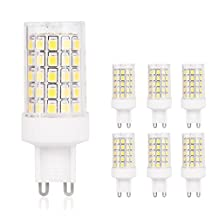 JandCase G9 LED Light Bulbs, 60W Halogen Equivalent, 800LM, 7W, Natural Daylight White 4000K, G9 Daylight White Bulbs for Chandelier, Ceiling Fixture, 6 Pack