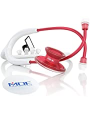 MDF® Acoustica® Deluxe Lightweight Dual Head Stethoscope - Full Lifetime Warranty & Free-Parts-for-Life Program - Red and White (MDF747XPR29)