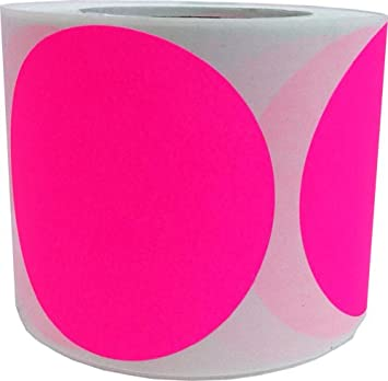 Fluorescent Pink Color Coding Labels for Organizing Inventory 4 Inch Round Circle Dots 500 Total Adhesive Stickers On A Roll