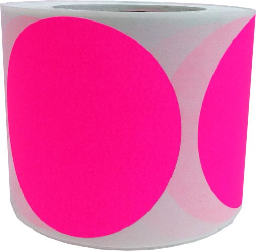 Fluorescent Pink Color Coding Labels for Organizing Inventory 4 Inch Round Circle Dots 500 Total Adhesive Stickers On A Roll by InStockLabels.com