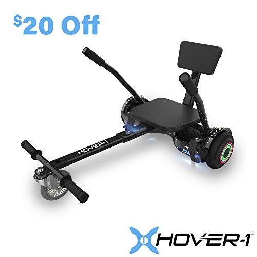 Hover-1 Chrome Electric Hoverboard Scooter and Go-Kart Attachment Combo (2 piece set), Black, One Size