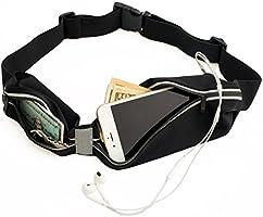 Sora Cangurera ultra ligera Premium/Cinturón Deportivo Negro con 2 Bolsas Cinturón para hacer ejercicio perfecto para Correr Ciclismo CrossFit compatible con iPhone 6/7/8/X o cualquier otro celular!