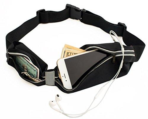 Sora Cangurera ultra ligera Premium/Cinturón Deportivo Negro con 2 Bolsas Cinturón para hacer ejercicio perfecto para...
