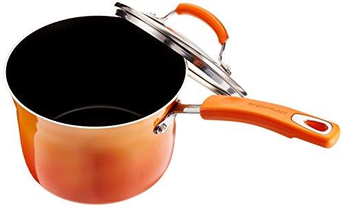 Rachael Ray Porcelain Enamel II Nonstick Covered Saucepan, 3-Quart, Orange
