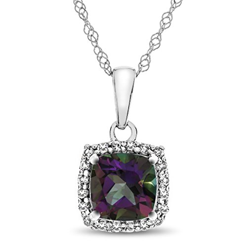 Finejewelers 10k White Gold 6mm Cushion Mystic Topaz with White Topaz accent stones Halo Pendant Necklace ()