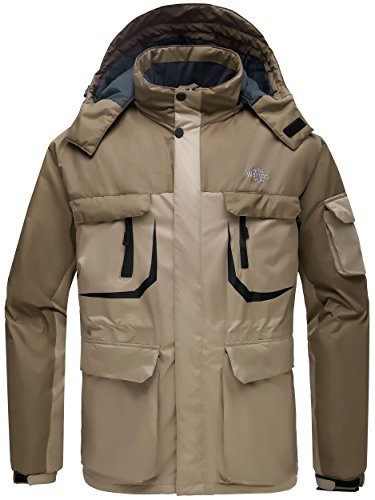 Wantdo Men's Warm Ski Jacket Hooded Mountain Waterproof Winter Coat Windproof Raincoat Outdoors Parka