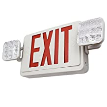 TORCHSTAR ALL LED Dual/Single Face Combo EXIT Sign and Emergency Light - Red Letter w/ Dual Square Head Lights and Rechargeable Battery Backup – US Standard Double Face Lighted EXIT Sign EL06