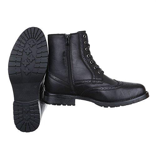 Ital-Design Stiefeletten Herren Schuhe Desert Boots Blockabsatz Leicht Gefütterte Reißverschluss Boots Schwarz