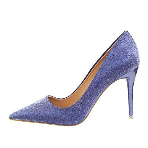 Allhqfashion Zapatos De Tacón Alto Con Tacón Alto Para Mujer Pu Color Surtido Pu Bombas-zapatos Azules