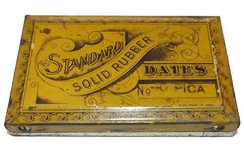 (Antique 1901 Patent Standard Solid Rubber Date Stamp Tin with Stamps)