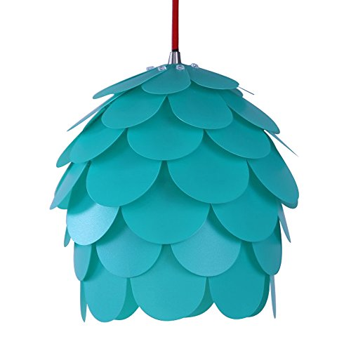Modern Pendant Chandelier, HROOME DIY Kit Pinecone Shape Puzzle Lampshade Hanging Lamps for Dining Room, Bedroom, Living Room Decor Lighting (Medium, Green lampshade)