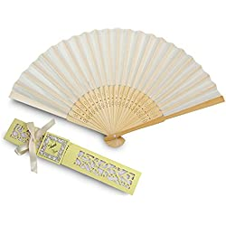Doris Home 50pcs Ivory White Silk Bamboo Handheld Folded Fan Wedding Favor Fan with Laser Cut Gift Box for White Bridal Gift Party Favors (Without Names) FAN01-50IA