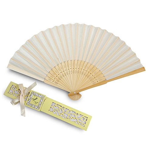 Doris Home 50pcs Ivory White Silk Bamboo Handheld Folded Fan Wedding Favor Fan with Laser Cut Gift Box for White Bridal Gift Party Favors (Without Names) -
