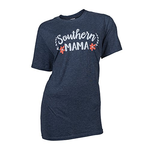 Southern Couture SC Soft Southern Mama Front Print Classic Fit Adult T-Shirt - Heather Navy, X-Large
