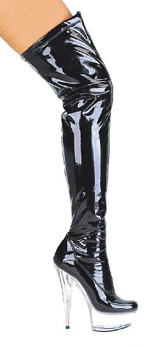 Women's 6 Inch Pointed Stiletto Heel Thigh High Stretch Boots (6 Inch Clear High Heel)