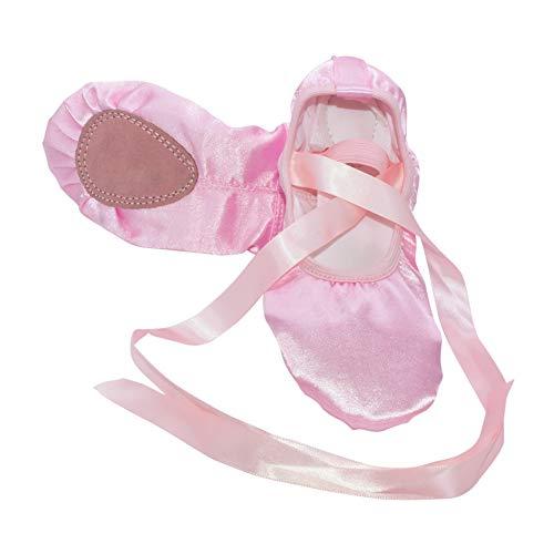 Con Pratica Ballerine Moderno Seta Da Ragazze Ginnastica Donna Interno Rotonde Nastro Ballo Calzature Shoes Deylaying Rosa Women Punta Di Pantofole Cuoio 6t1Ywqw