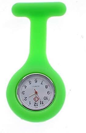 NEW Silicone Quartz Movement Nurse Brooch Fob Tunic Pocket Watch Green