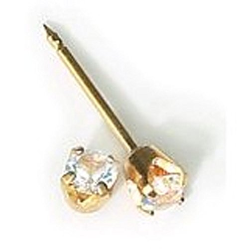 INVERNESS 24K Gold Plate Birthstone Gems 3mm Piercing Earrings April Crystal 84C or 84E