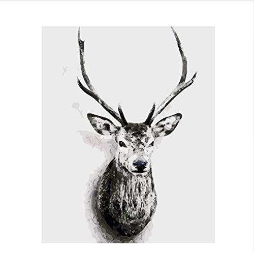 CZYYOU DIY Digital Malen Nach Zahlen Schwarz Und Weiß Hirsch Ölgemälde Wandgemälde Kits Färbung Wandkunst Bild Geschenk - Ohne Rahmen - 40x50cm B07PNNSZY4 | Lass unsere Waren in die Welt gehen
